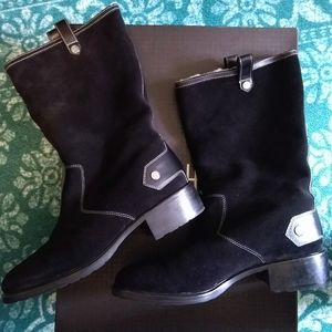 COLE HAAN Kody Black Suede Shearling Boots Sz 10